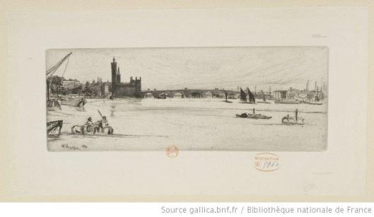 Whistler, Old Westminster bridge, 1859-1871, eau-forte, 2e état