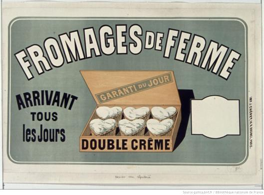 Jules Cheret, Fromages de ferme [affiche], 1876, lithographie en couleurs, BnF/Gallica