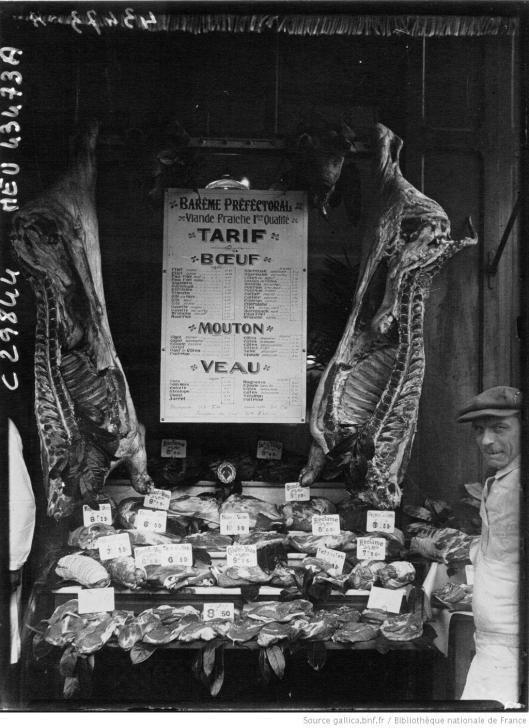 Agence meurisse, Boucherie témoin application des barèmes de la préfecture, 1927, Gallica/BnF