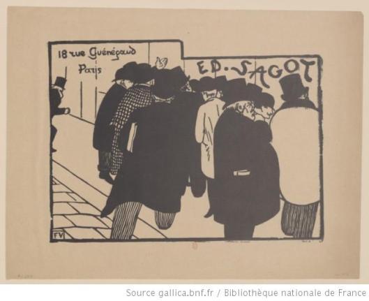 Félix Vallotton, Les amateurs d'estampes : [18 rue Guénégaud, Paris], carte pour l'éditeur Sagot, 1892, BnF, Gallica