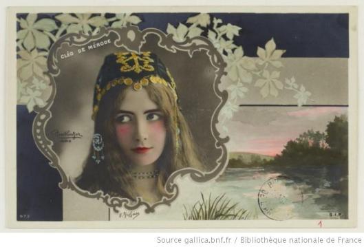 Carte postale utilisant un cliché Reultinger de Cléo de Mérode