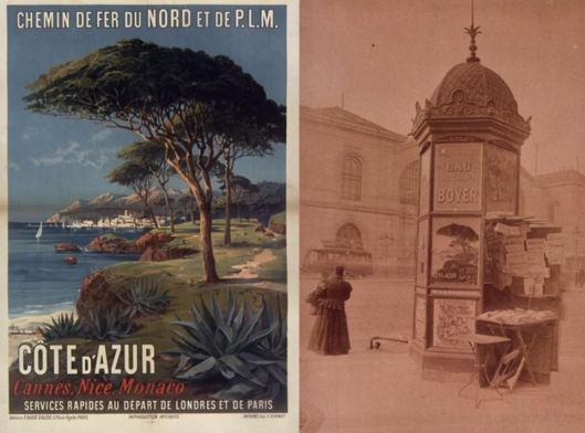 Atget, Gare Montparnasse, kiosque à journaux, 1899 / Hugo d'Alési, Chemin de fer du Nord et de P.L.M. Côte d'Azur, 1895.