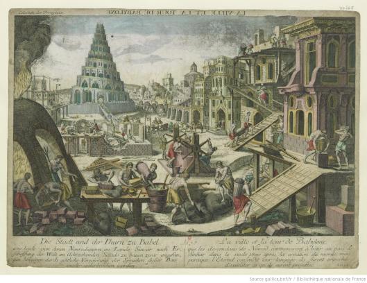 La ville et la tour de Babylone, édité à Augsbourg, 1760, Gallica/BnF