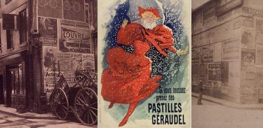 Atget, Rue des Bourdonnais, 1910 / Chéret, Affiche pour les pastilles Géraudel, 1896 / Atget, rue du Plat d'Etain, 1908