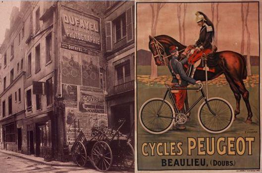 Atget, rue du Plat d'Etain, 1908 / Vulliemin, cycles Peugot, 1895