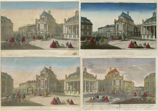 Quatre vues d'optique d'un même sujet: la chapelle de Versailles, édités successivement par trois éditeurs parisiens et contrefaite par un éditeur augsbourgeois
