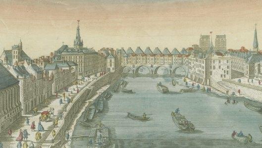 Vue d'optique représentant le Pont de St Michel à Paris, vers 1750, sans nom d'éditeur, Gallica/BnF [détail]