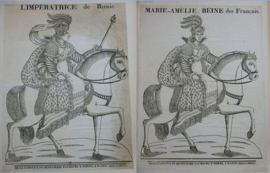 Jean-Baptiste Thiébault, L'Impératrice de Russie (1er état, 1829) / Marie-Amélie (2e état, 1830), xylographie, ed. Desfeuilles, Nancy (BnF, estampes)