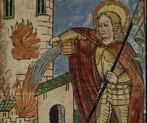 Saint Florian éteignant un incendie, gravure sur bois coloriée, BnF