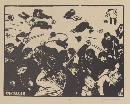 Vallotton, la charge, 1893, gravure sur bois, BnF/Gallica