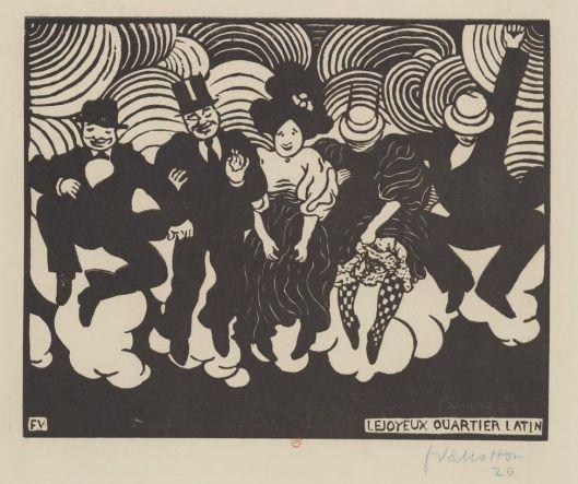 Vallotton, Le joyeux quartier latin, 1895, gravure sur bois, BnF/Gallica