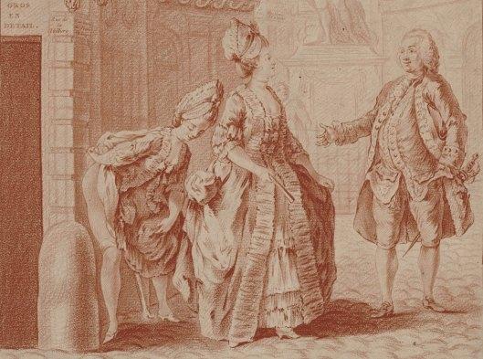 L. Bonnet, d'après S. Leclerc, A beau cacher, estampe, XVIIIe siècle, BnF/Gallica (détail)