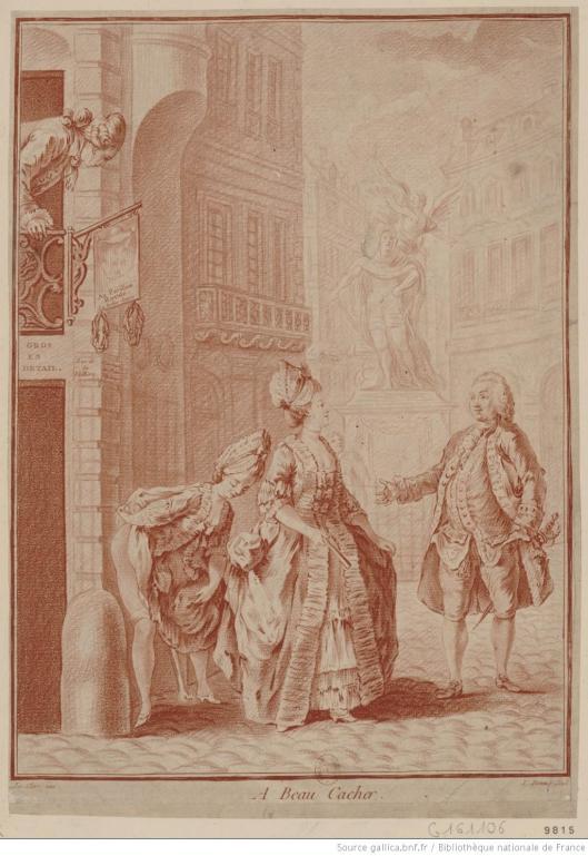 L. Bonnet, d'après S. Leclerc, A beau cacher, estampe, XVIIIe siècle, BnF/Gallica