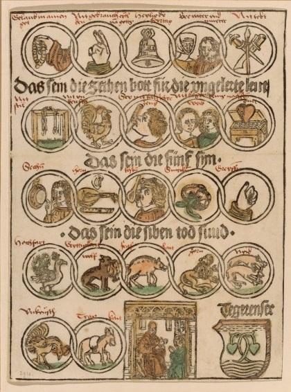 Les dix commandements, les cinq sens et les sept péchés capitaux, xylographie coloriée, vers 1480, BnF