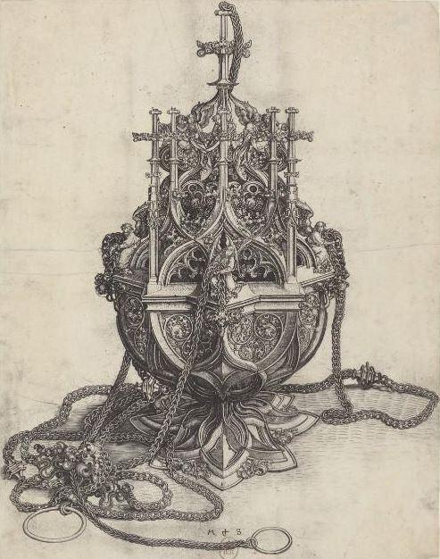 Martin Schongauer, encensoir, burin, vers 1490, BnF/Gallica