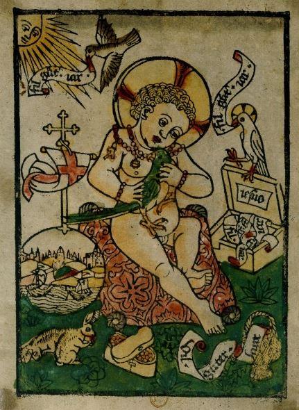 Jésus et le perroquet, voeu pour la nouvelle année, xylographie coloriée, vers 1470, BnF