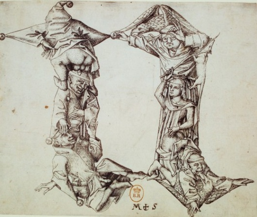 Maître E.S., alphabet, lettre N, burin, vers 1466, BnF.
