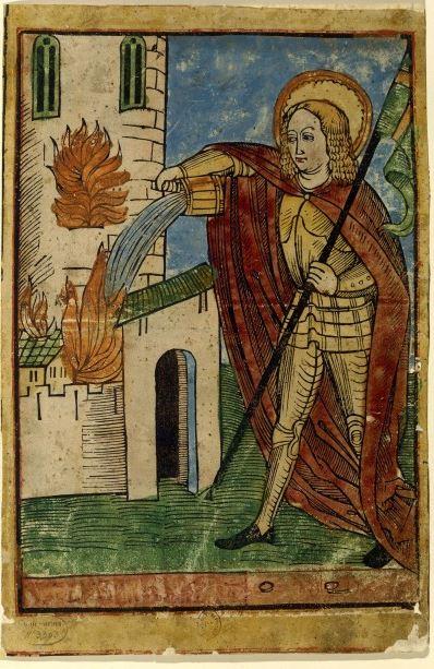Saint Florian éteignant un incendie, xylographie coloriée, BnF