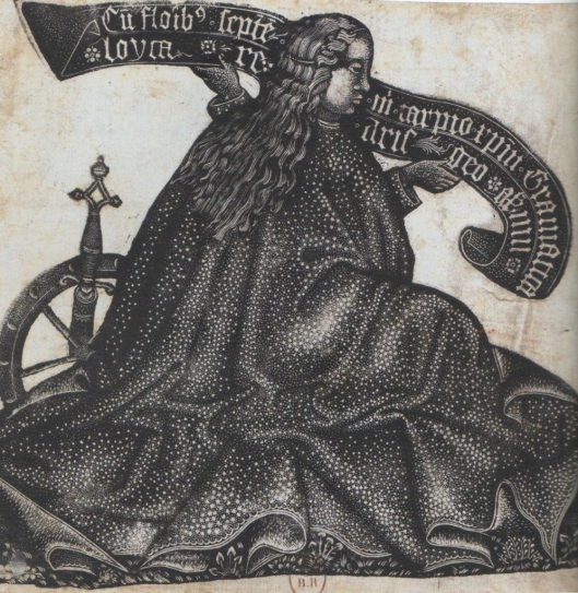 Anonyme, Sainte-Catherine, gravure en criblé, vers 1450-1460, BnF