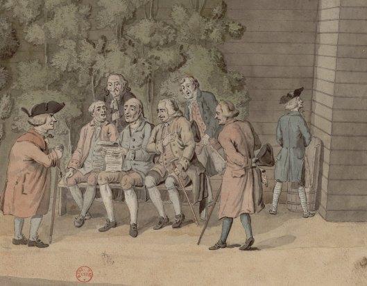 En 1790, on pisse à nouveau en plein air au Jardin des Tuileries. Hulot, Lecture du Journal par les Politiques de la petite Provence au jardin des Thuilleries, dessin, 1790 (détail), Gallica/BnF