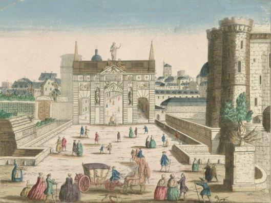 Vue perspective de la porte St Antoine et de la Bastille. N° 51, estampe, éditée par Basset, milieu XVIIIe siècle, Gallica/BnF