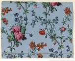 Manufacture Bon. Papier à motif répétitif. branchages ascendants portant diverses fleurs au naturel, 1799