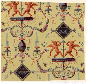 Manufacture Bon. Papier à motif répétitif.deux putti dansant, 1799