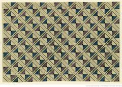 Manufacture Chapillon. Papier à motif répétitif. Motif répétitif de dense quadrillage à motifs de sablier inscrits dans des carrés, 1800