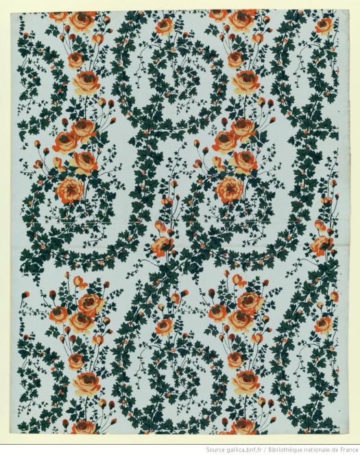 Manufacture Duserre et Cie. Papier aux rinceaux de feuillages et roses stylisées, 1799