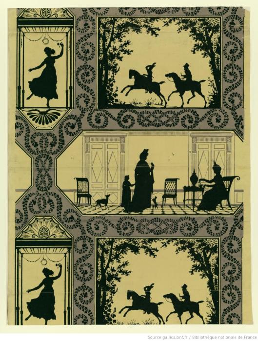 Manufacture Duserre et Cie. Papier à motif répétitif de trois scènes traitées en silhouette, 1799