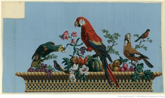 Manufacture Hartmann Risler et Cie. Dessus de porte. Corbeille d'osier remplie de fruits et de fleurs au naturel, Joseph-Laurent Malaine, 1800