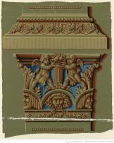 Manufacture J. Zuber et Cie. Eléments d'architecture chapiteau orné de masques de théâtre et base de colonne, 1802