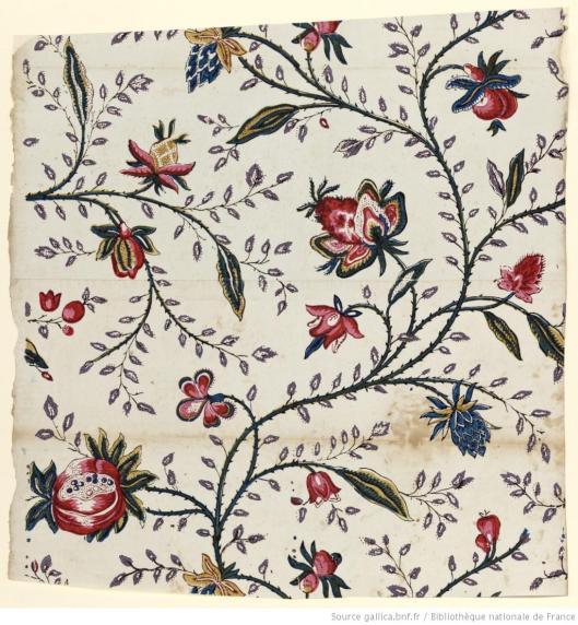 Simon, papier à motif répétitif à fleurs, 1799