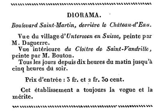 Diorama almanach des spectacle 1827