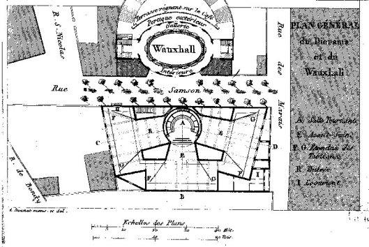 Plan du diorama, tiré de Donnet, Architectonographie des théâtres de Paris, ou Parallèle historique et critique de ces édifices considérés sous le rapport de l'architecture et de la décoration, 1821 (?), Gallica/BnF