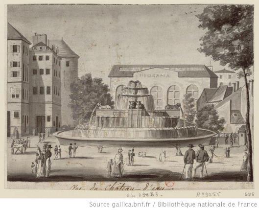 Anonyme, vue du château d'eau, avec le Diorama de Daguerre, dessin, 1822, Gallica/BnF