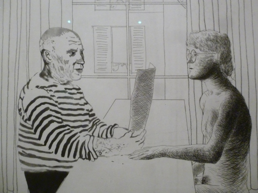David Hockney, Artist and Model, 1974, Eau-forte, aquatinte, vernis mou, collection particulière.