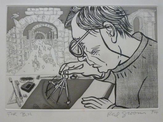 Red Grooms, Portrait of AC, 1994, Eau-forte et aquatinte, BNF. Red Grooms portraiture Aldo Crommelynck entrain de travailler sur une de ses matrices