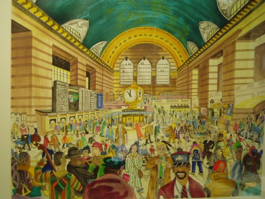 Red Grooms, Grand Central Terminal 1, 1994, eau-forte, vernis mou et aquatinte en couleurs, BnF