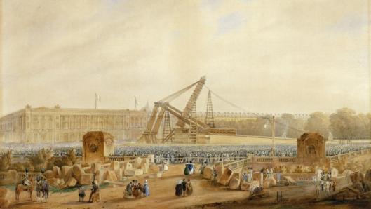 Cayrac, Erection de l'Obélisque en 1836, aquarelle, 1837, Musée de la Marine