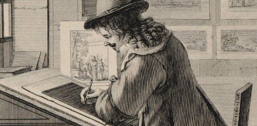 Abraham Bosse, L'atelier du graveur au burin et à l'eaue-forte (détail), 1643, BnF/Gallica