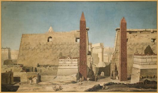François-Charles Cécile, Façade du temple de Louxor, aquarelle, 1800, Musée du Louvre