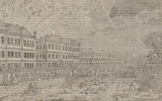 Feu d'artifice tiré à l'occasion du mariage de Louis XVI et accidents arrivés sur le bord de la Seine, gravure de 1770, BnF/Gallica