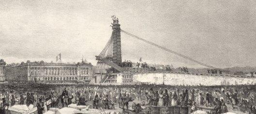 F. Bohommé, Erection de l'Obélisque de Louqsor sur la place de la Concorde à Paris. 25 Octobre 1836 à 3 heures, lithographie, BnF/Gallica. Le drapeau a été planté : la foule est en liesse