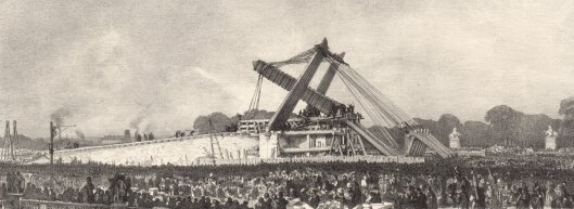 F. Bonhomme,  Erection de l'Obélisque de Louqsor  sur la place de la Concorde, à Paris 25 octobre 1836, à midi, lithographie, BnF/Gallica