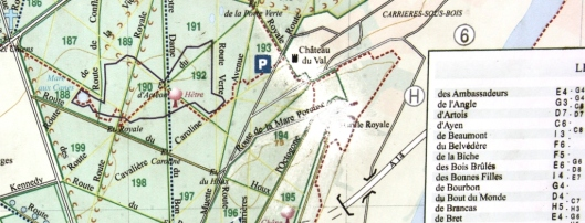 """Détail de la carte de la forêt de Saint-Germain-en-Laye au lieu dit de la """"Grille Royal"""""""