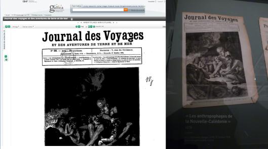 Le journal des voyages à l'exposition Kanak, l'art est une parole du Musée du Quai Branly et sur Gallica
