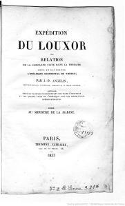 Expédition du Louxor, par J.-P. Angelin, Paris, librairie Thomine, 1833