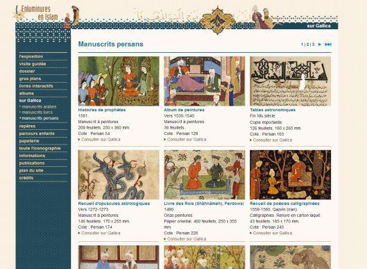 "Capture d'écran du mini-site de l'exposition ""Enluminures en Islam"" organisée par la BnF"