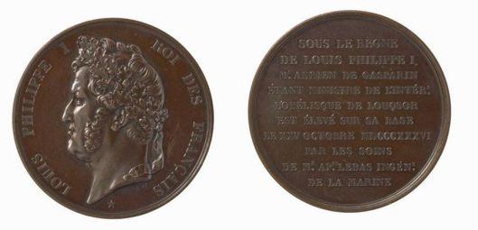 Barre, Médaille commémorant l'érection de l'obélisque de Louqsor, 1836, BnF/Gallica